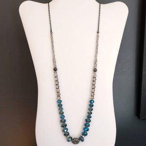 Blue, clear and hematite long beaded necklace